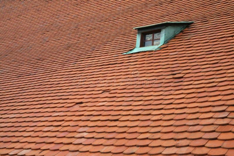 Um indicador verde em um telhado vermelho foto de stock royalty free