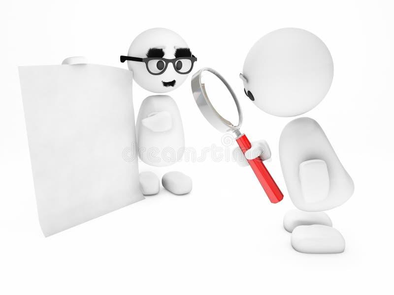 Um indivíduo 3D pequeno bonito inspeciona uma folha suspeito ilustração stock