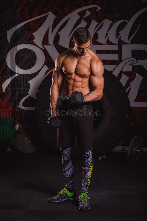 Um indivíduo bombeado-acima considerável bombeia seus músculos do braço com pesos Dentro no gym fotografia de stock