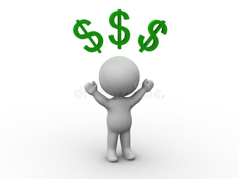 homem 3D com sinais de dólar acima de sua cabeça ilustração do vetor