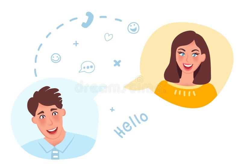 Um indivíduo e uma menina para comunicar-se em linha Datar em linha e datar Sentimentos e amor românticos Ilustração do vetor ilustração royalty free