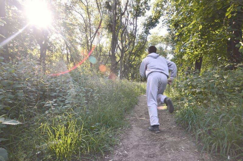 Um indivíduo novo em um terno cinzento dos esportes corre ao longo do trajeto entre fotos de stock royalty free