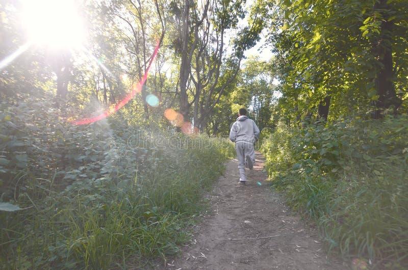 Um indivíduo novo em um terno cinzento dos esportes corre ao longo do trajeto entre fotografia de stock