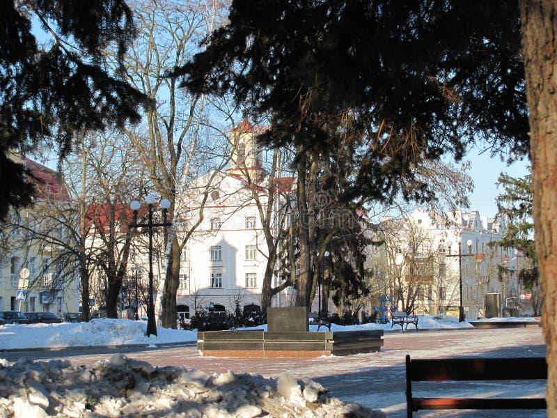 um inverno está na cidade imagens de stock royalty free