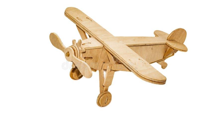 Um isolado de madeira amarelo do plano da lembrança do brinquedo foto de stock royalty free
