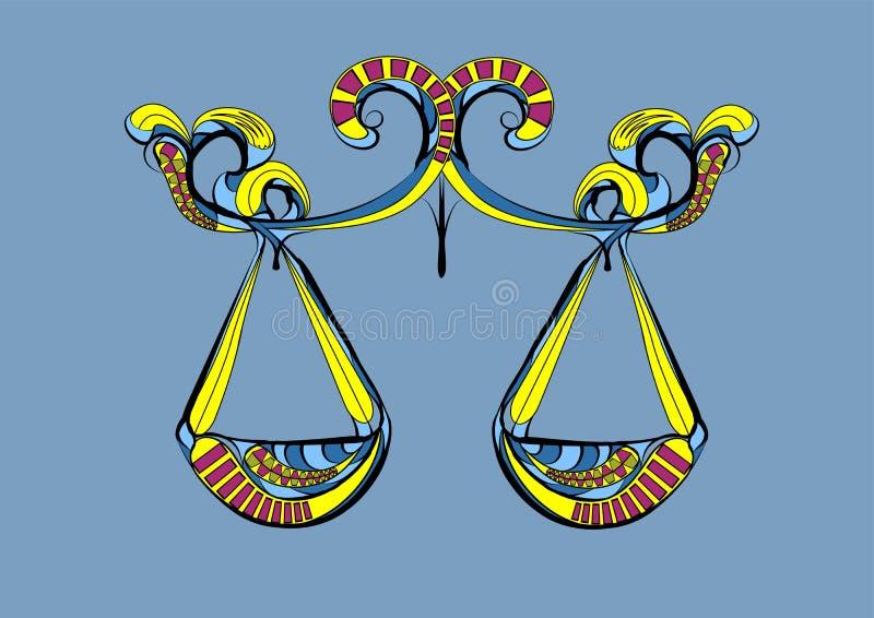 Um ist Kreis von Horoskopzeichen von Tierkreiskonstellation Jungfrau und spielt die Hauptrolle stock abbildung