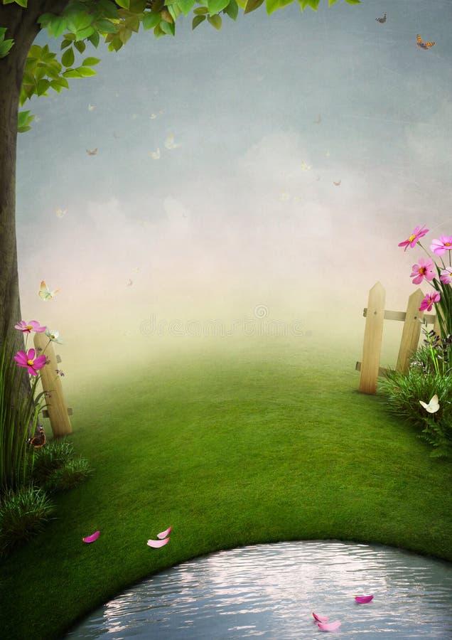 Um jardim bonito com lagoa ilustração stock