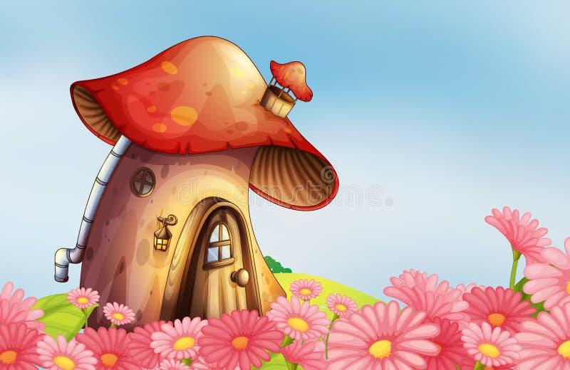 Um jardim com uma casa do cogumelo ilustração do vetor