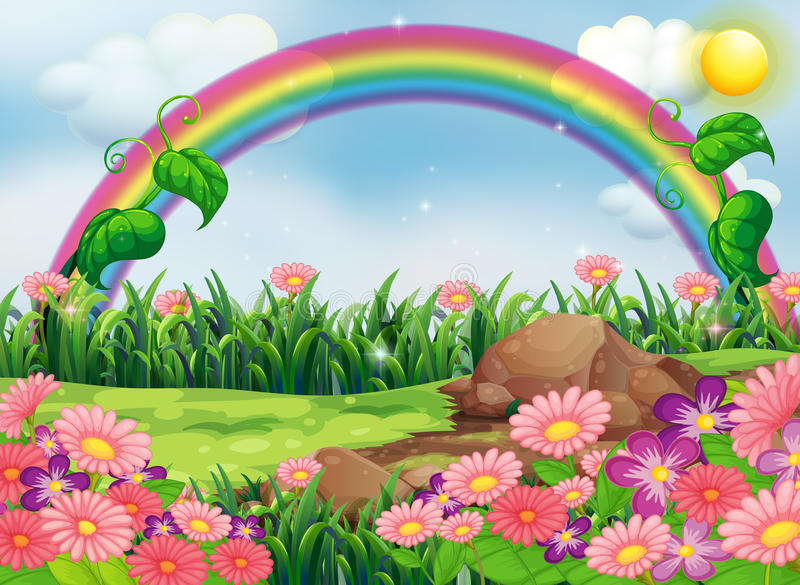 Um jardim encantador com um arco-íris ilustração do vetor