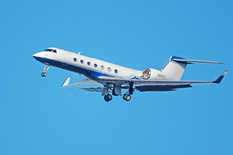 Um jato do espaço aéreo GV-SP G550 de Gulfstream fotos de stock royalty free