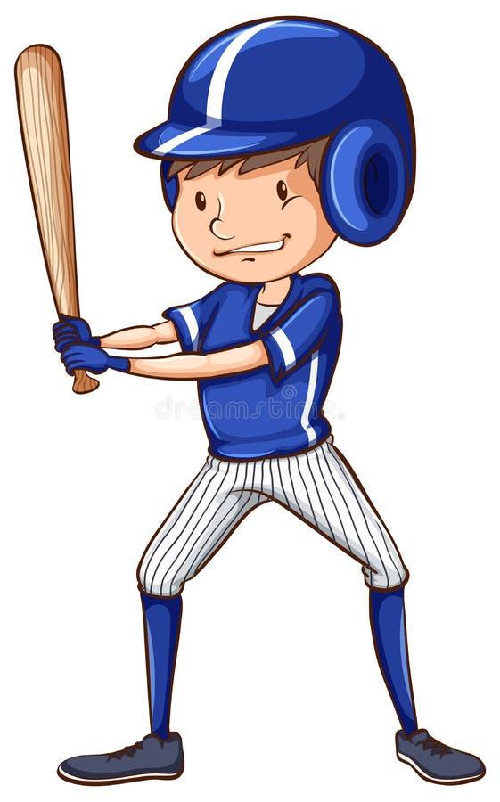 Um jogador de beisebol com um uniforme azul ilustração royalty free