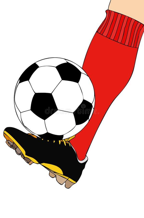 Um jogador de futebol durante o treinamento ilustração royalty free