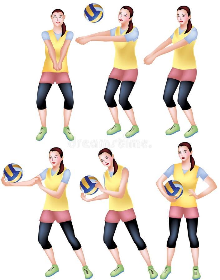 Um jogador de voleibol fêmea em um vestuário desportivo amarelo ilustração stock