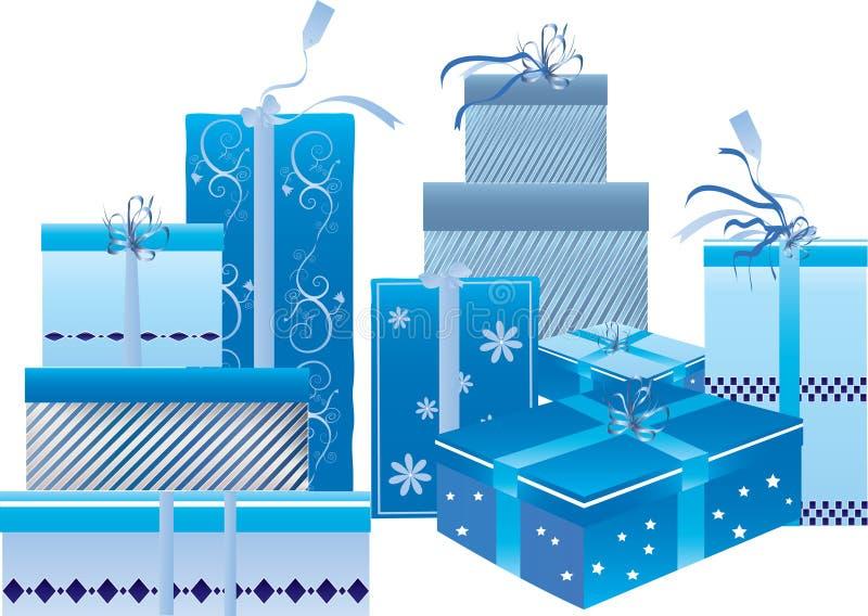 Um jogo de caixas de presente azuis ilustração stock