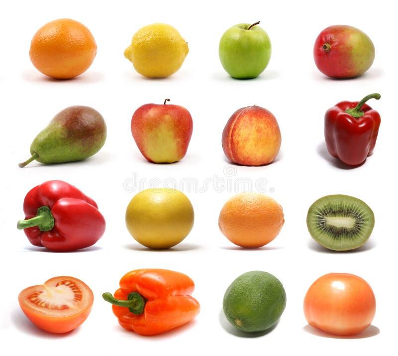Um jogo de frutas e verdura saudáveis diferentes foto de stock