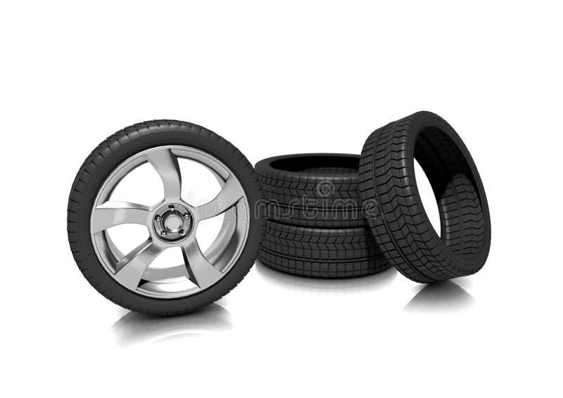 Um jogo de pneumáticos do perfil baixo ilustração royalty free