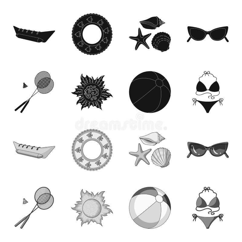 Um jogo do badminton, uma bola e o sol Ícones ajustados da coleção das férias de verão no símbolo preto, monocromático do vetor d ilustração stock