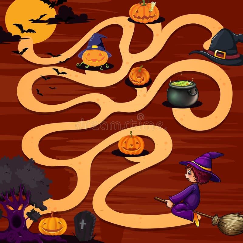 Um jogo do labirinto do Dia das Bruxas ilustração do vetor
