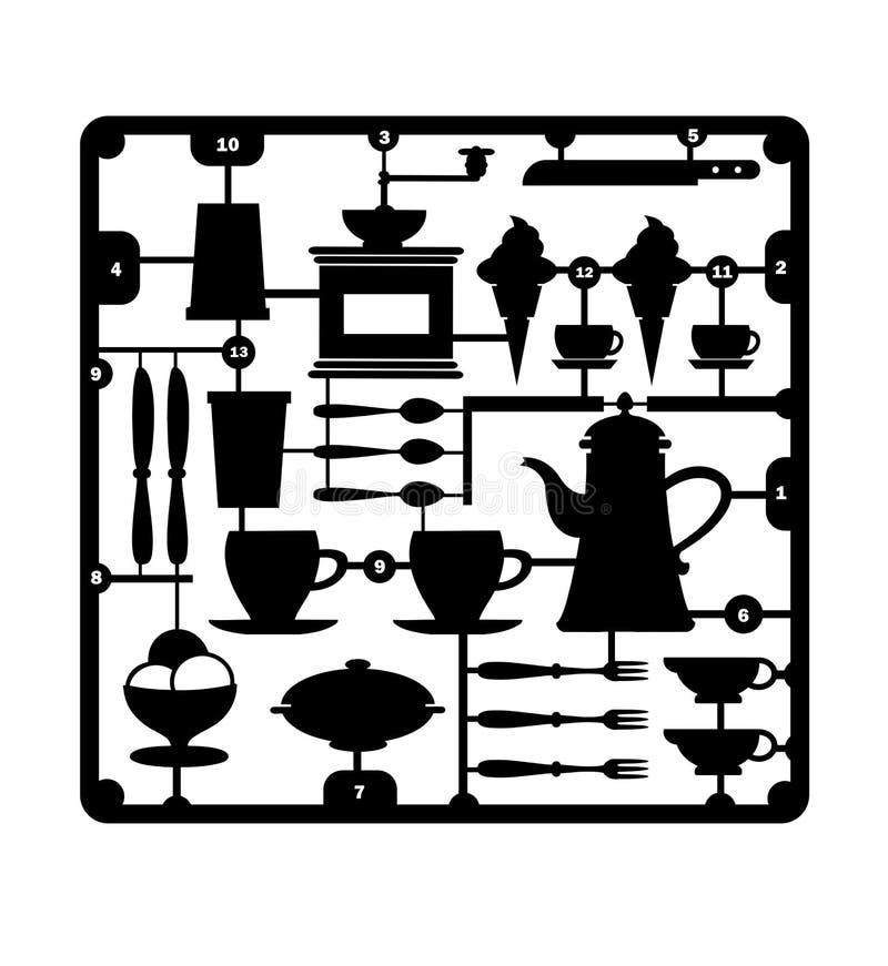 Um jogo do restaurante ilustração do vetor