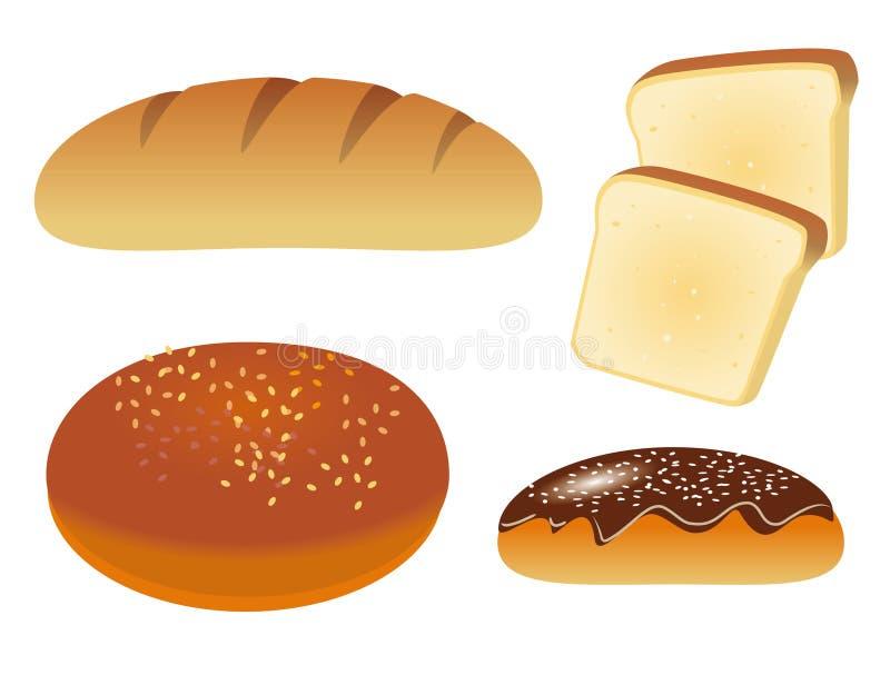 Um jogo dos ícones com pão ilustração do vetor