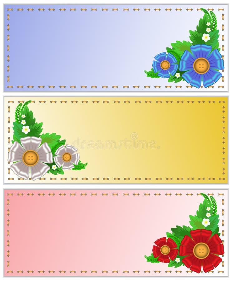 Um jogo dos cartões com flores ilustração stock
