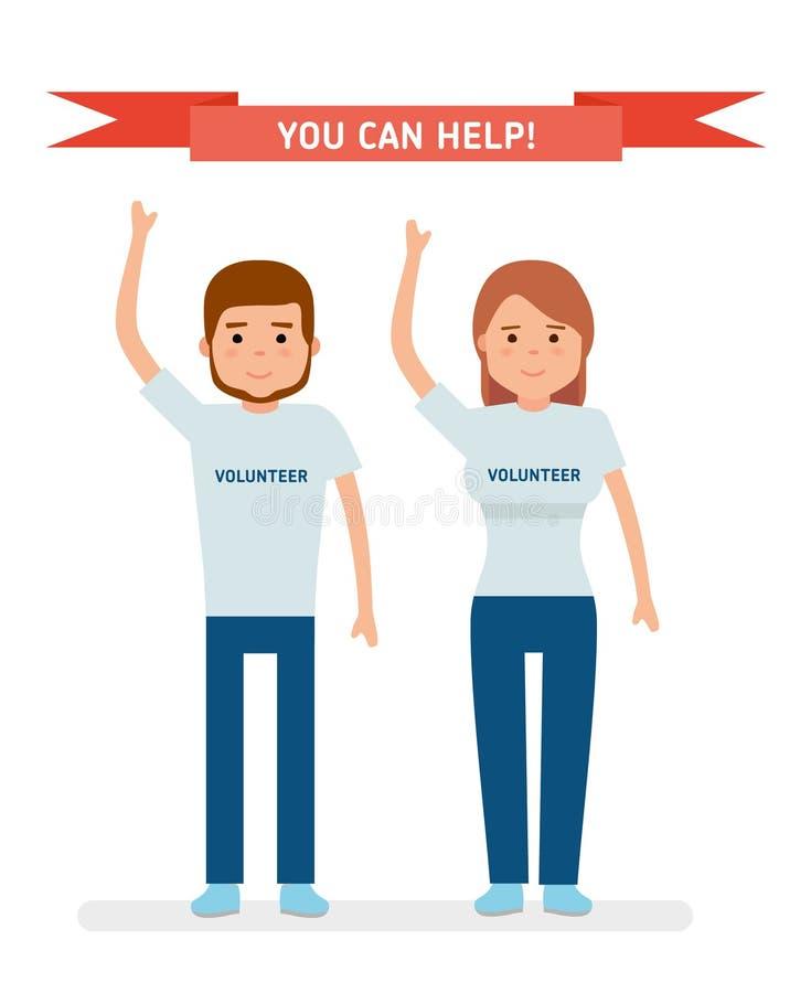 Um jovem oferece-se O homem novo e a menina levantaram seus braços e sorriso ilustração royalty free
