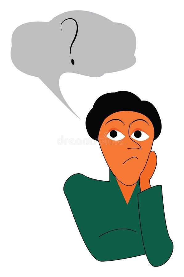 Um jovem sentado colocando a mão no queixo e pensando em algo vetor de desenho de cores ou ilustração ilustração stock