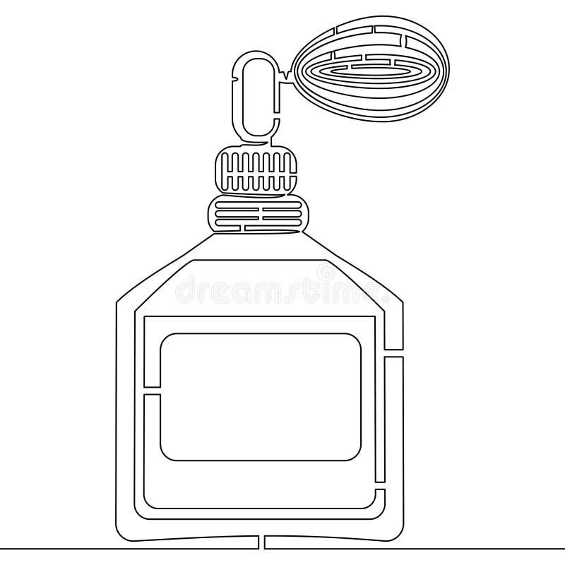 Um a lápis contínuo conceito da garrafa de perfume do desenho ilustração royalty free