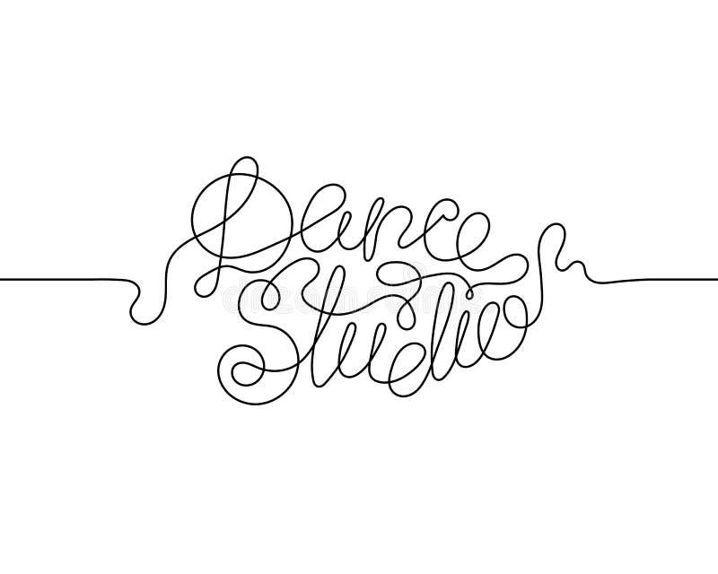 Um a lápis contínuo estúdio da dança do desenho ilustração do vetor