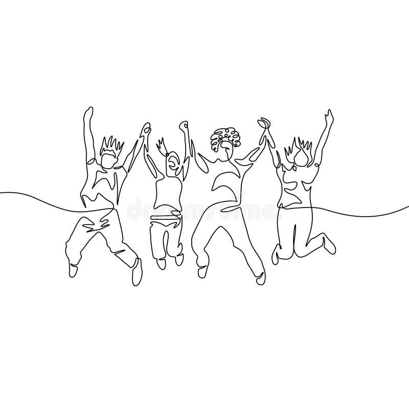 Um a lápis contínuo grupo de salto da diversidade do desenho ilustração stock