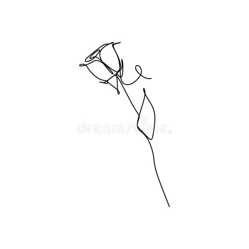 Um a lápis contínuo ilustração do vetor do desenho do conceito minimalista do minimalismo do projeto da flor cor-de-rosa ilustração royalty free
