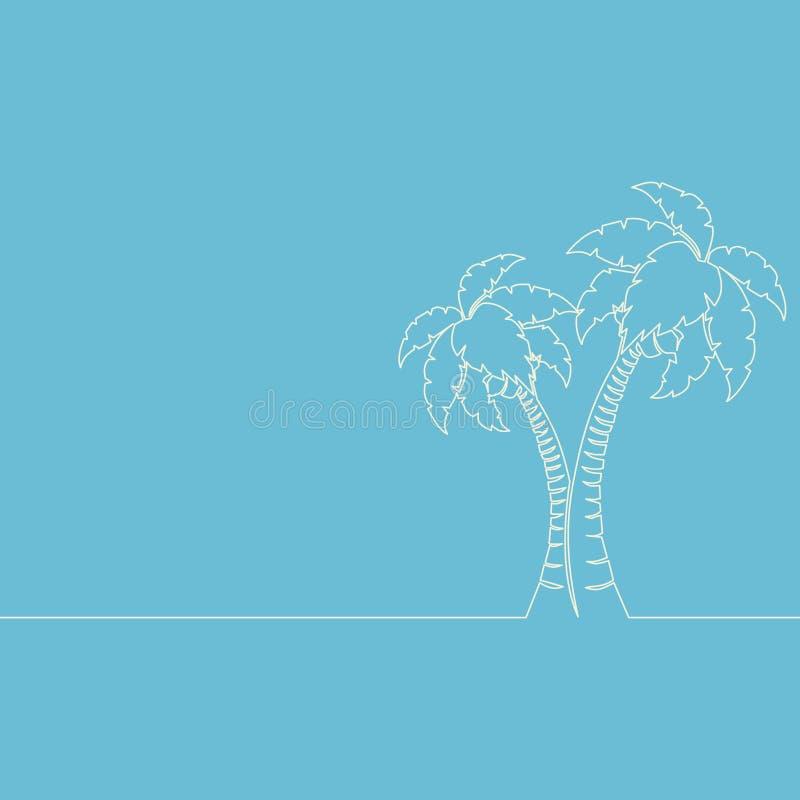 Um a lápis contínuo linha de palmeira vetor do desenho ilustração stock