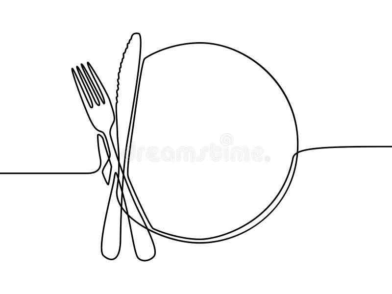 Um a lápis contínuo placa, khife e forquilha do desenho Ilustra??o do vetor ilustração stock