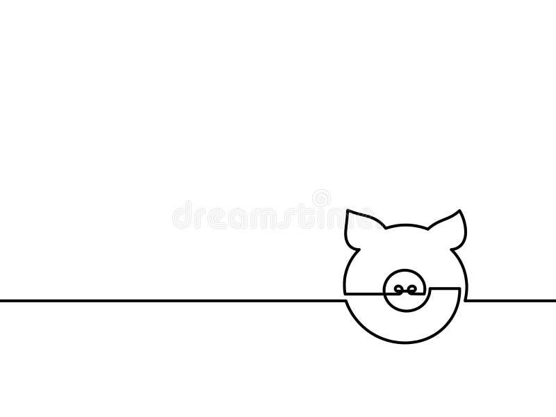 Um a lápis contínuo porco do desenho ilustração do vetor