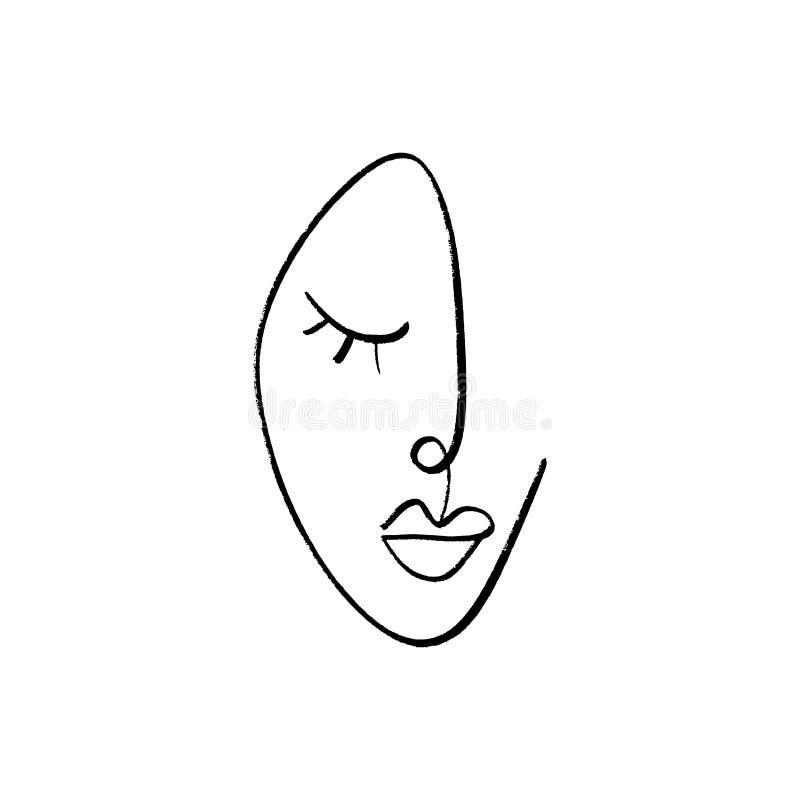 Um a lápis desenho contínuo abstrato, cara da mulher Ilustração do vetor ilustração do vetor