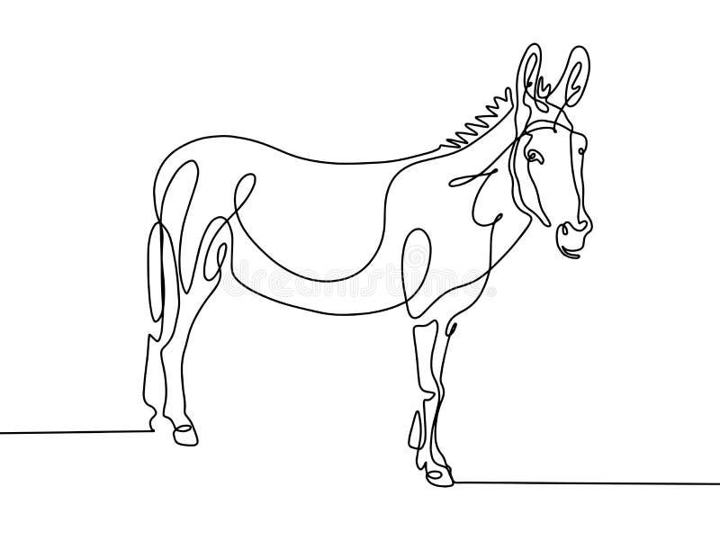 Um a lápis desenho contínuo do asno no chiqueiro minimalistic moderno ilustração do vetor
