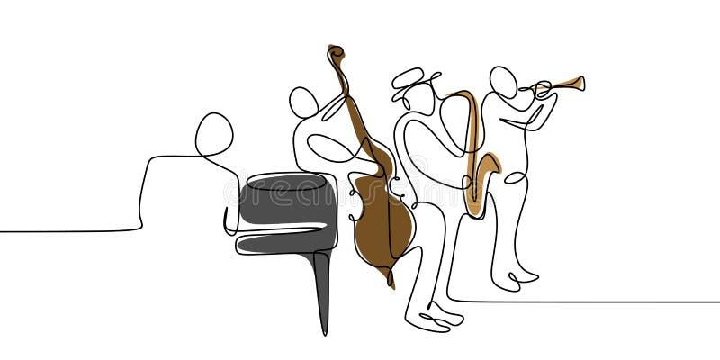 um a lápis desenho contínuo do projeto do minimalsm do grupo da música do jogador do jazz ilustração royalty free