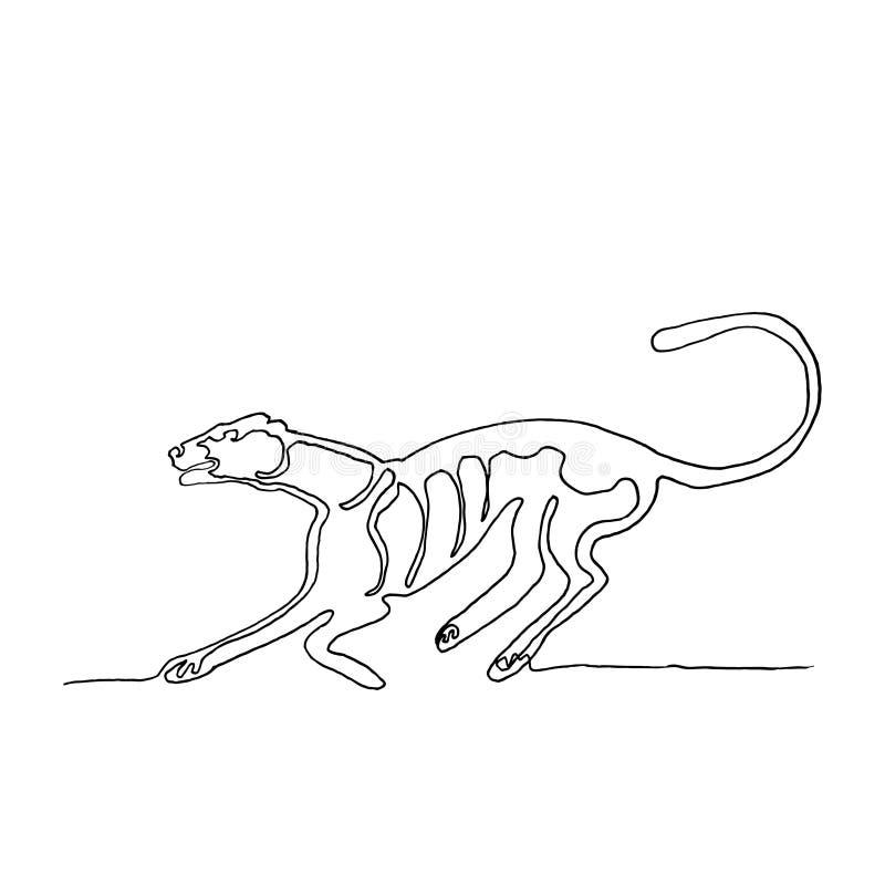Um a lápis desenho contínuo Puma running Animal americano MI ilustração stock