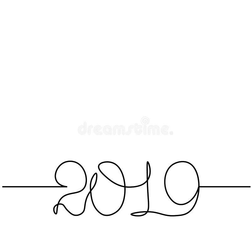 Um a lápis desenho contínuo 2019 Vector a ilustração do ano novo isolada no fundo branco ilustração stock