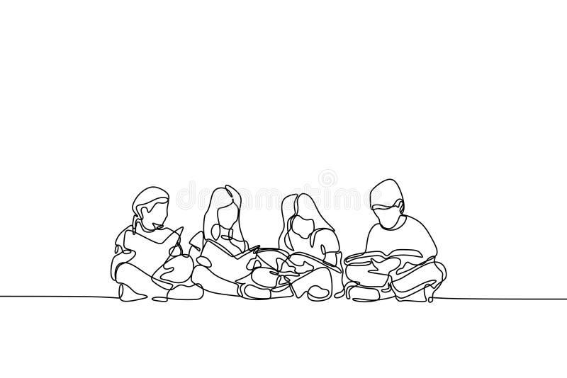 Um a lápis desenho do adolescente tema contínuo da educação das crianças e das crianças do projeto do lineart ilustração royalty free