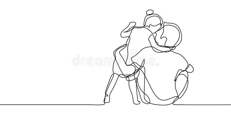 Um a lápis desenho do pai e da sua filha com ilustração tirada do vetor do minimalismo do conceito de família da felicidade mão c ilustração royalty free