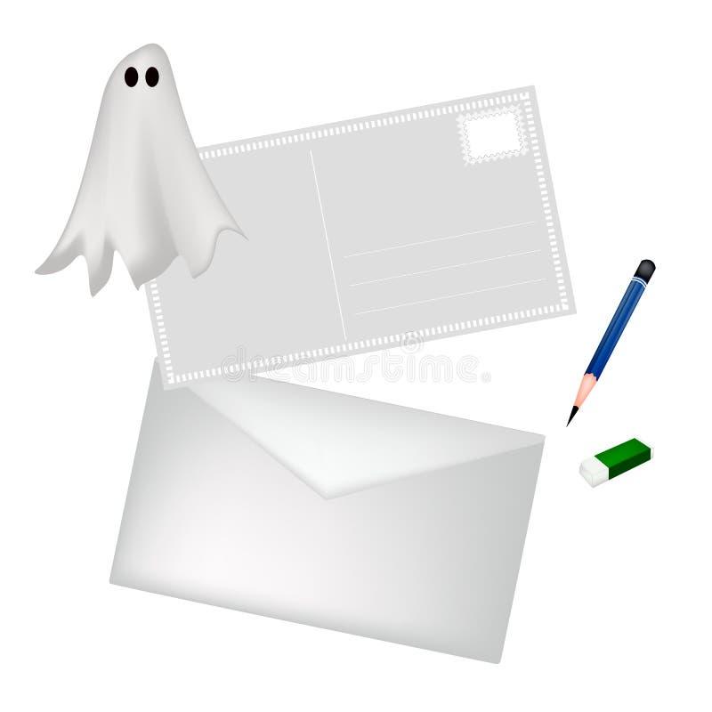 Um lápis e um envelope com Dia das Bruxas Ghost ilustração royalty free