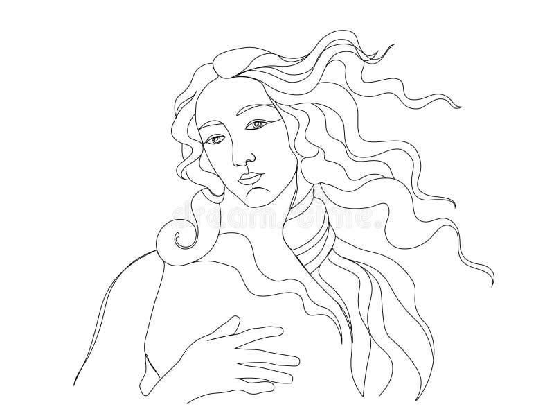 Um a lápis esboço do desenho Ilustra??o moderna do vetor de Minimalistic Única linha arte, contorno estético ilustração stock