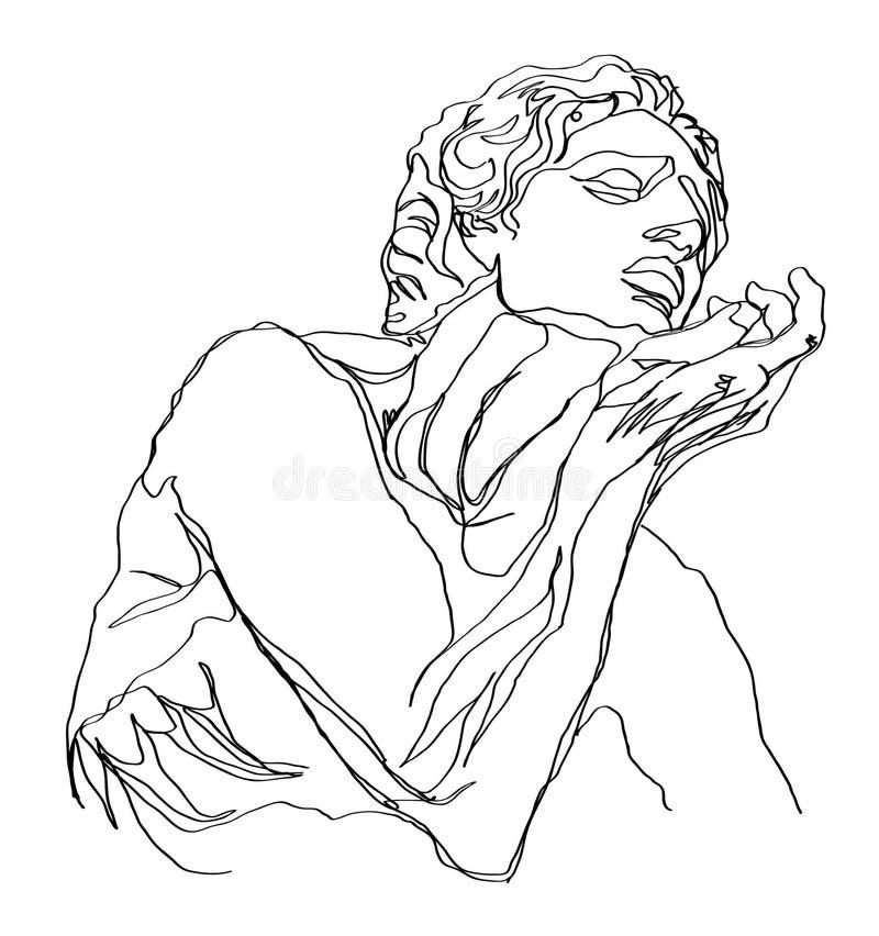 Um a lápis escultura do grego do esboço do desenho ?nica linha arte moderna, contorno est?tico Aperfeiçoe para a decoração tal co ilustração royalty free