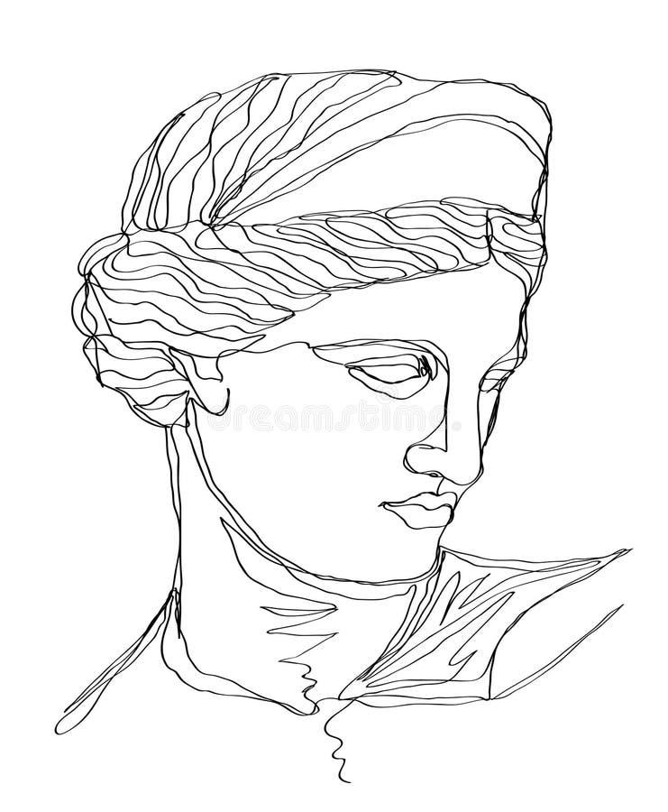 Um a lápis escultura do grego do esboço do desenho ?nica linha arte moderna, contorno est?tico ilustração royalty free