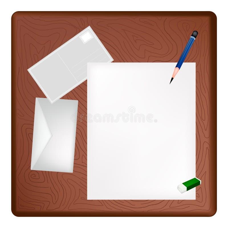 Um lápis que encontra-se em uma página vazia e em um envelope ilustração royalty free
