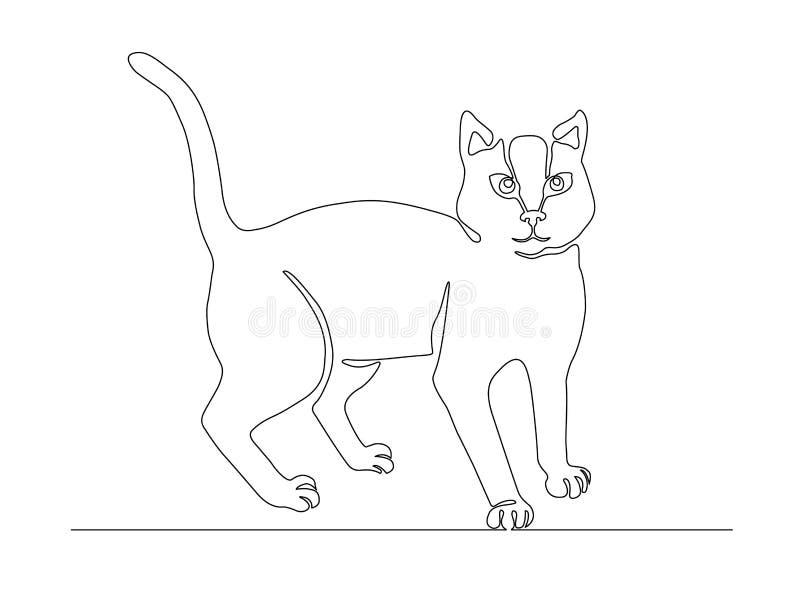 Um a lápis silhueta do projeto do gato do desenho ilustração royalty free