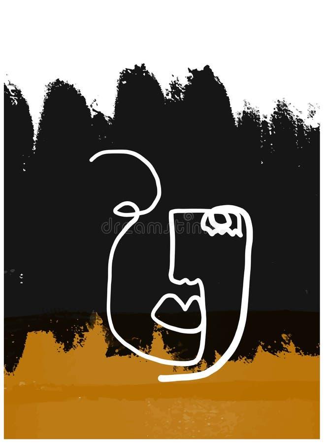 Um a l?pis cara do sum?rio do desenho Arte moderna do minimalismo, contorno est?tico M?o da arte contempor?nea tirada ilustração royalty free