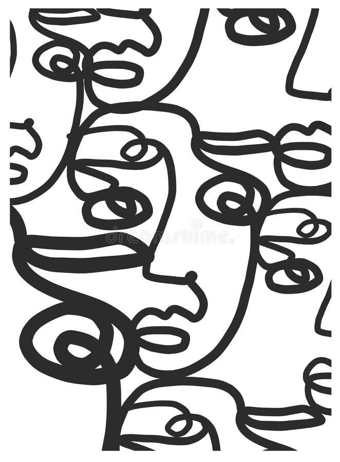 Um a l?pis cara do sum?rio do desenho Arte moderna do minimalismo, contorno est?tico M?o da arte contempor?nea tirada ilustração stock