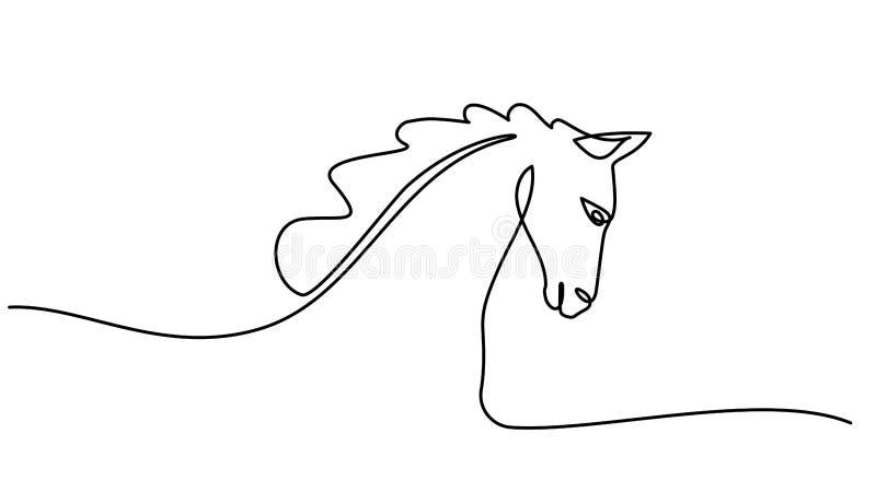 Um a l?pis desenho cont?nuo Logotipo da cabe?a de cavalo ilustração royalty free